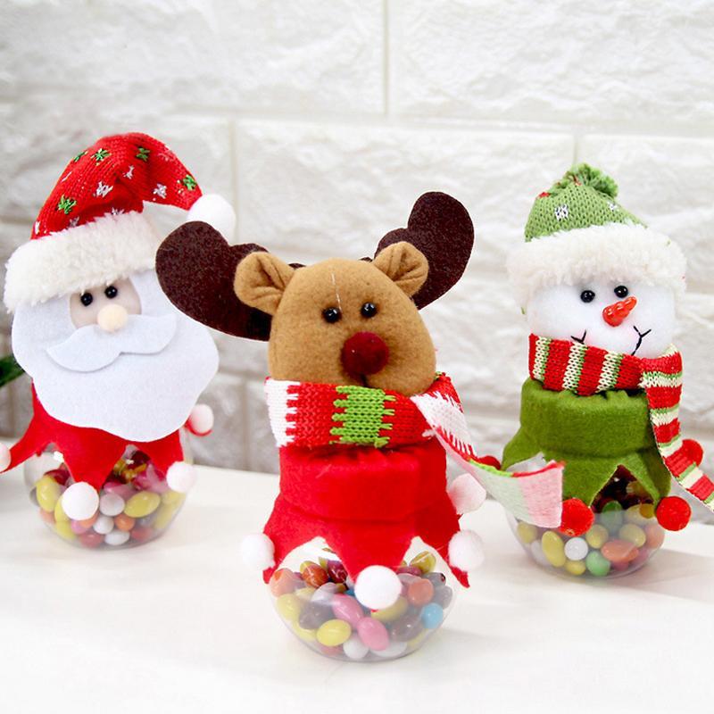 Новые рождественские конфеты бутылки Санта-Клаус снеговика Elk Дети рождественские подарки Jar контейнеры Дерево украшения 2C0378