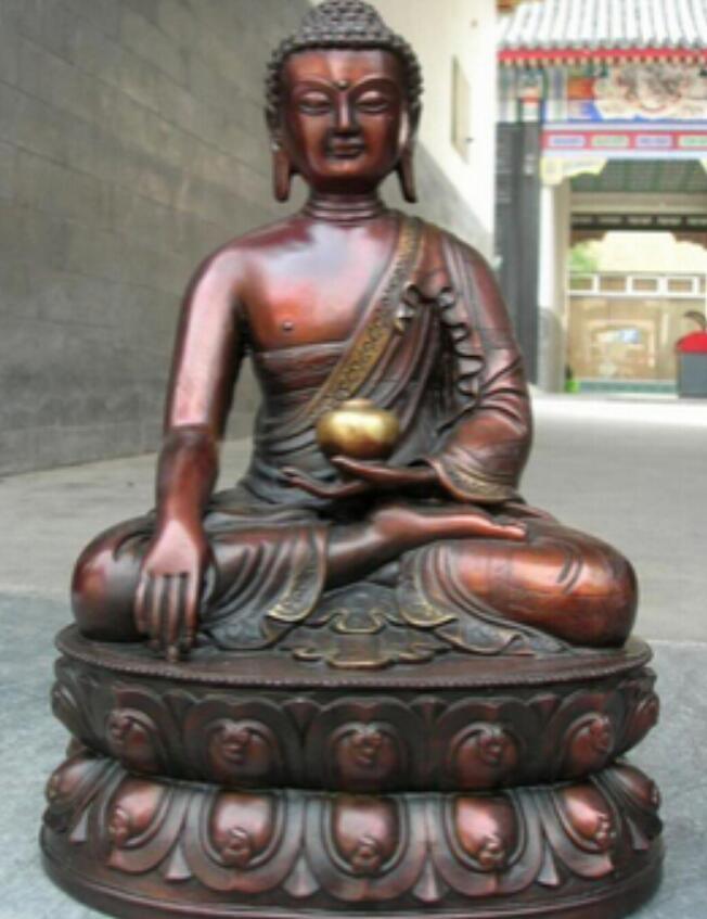 구리 동상 11 중국어 불교 사원 레드 청동 조각 된 Tathagata Sakyamuni 부처님 동상 무료 배송