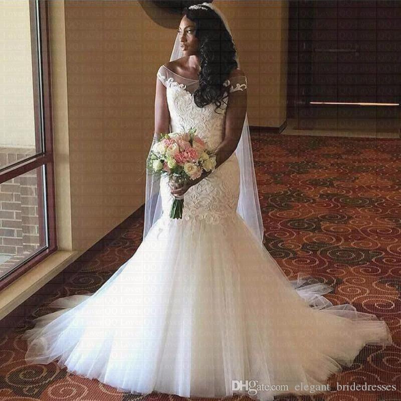 2019 Новый Африканский Cap Рукава Кружева Русалка Свадебное Платье Лодка Шеи Свадебные Платья Поцелуй Свадебные Rode de mariee