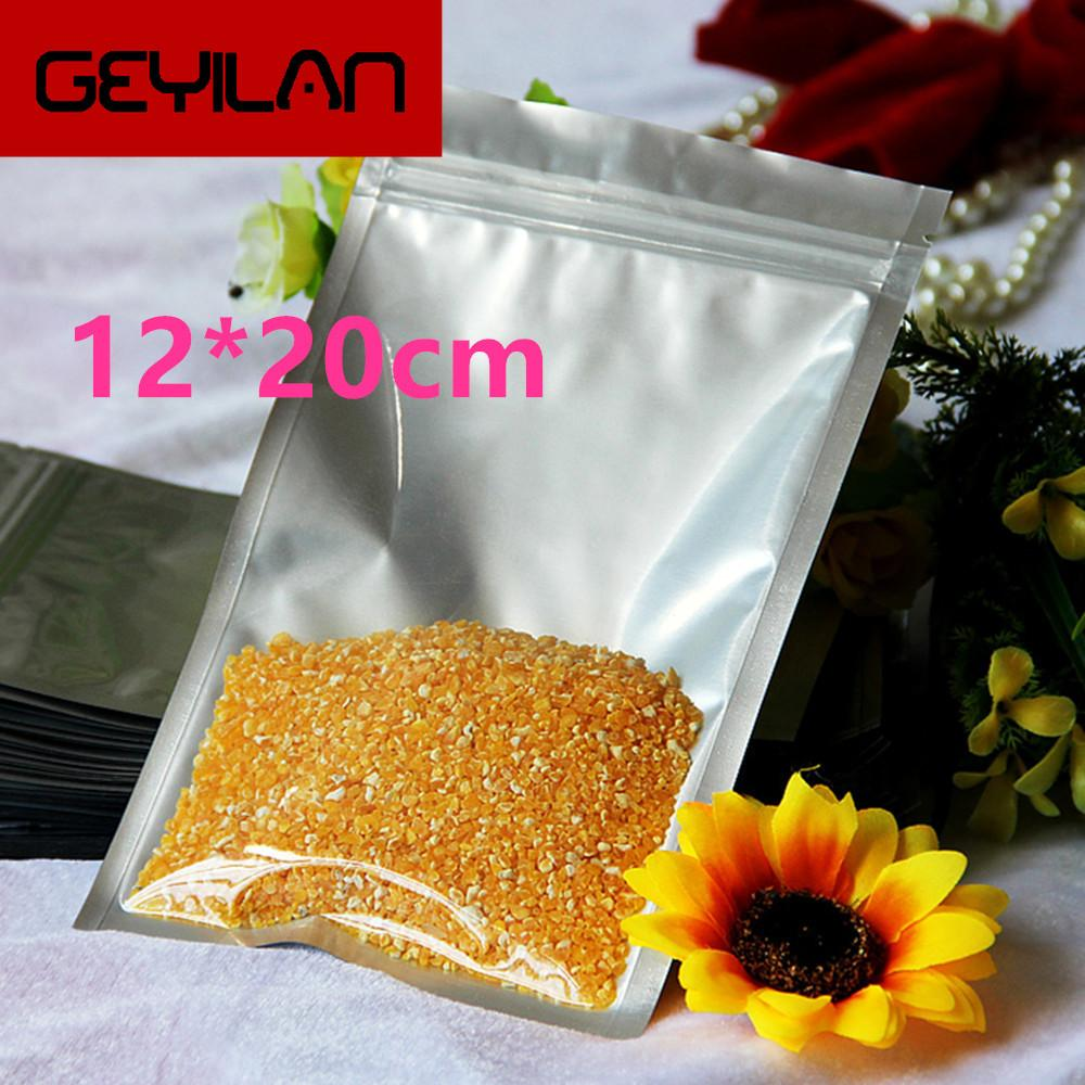 12*20cm Heat Seal Clear Pure Valve Pouch Mylar Zip Lock For Bean Candy Package Aluminum Foil Ziplock Event Packing Bag