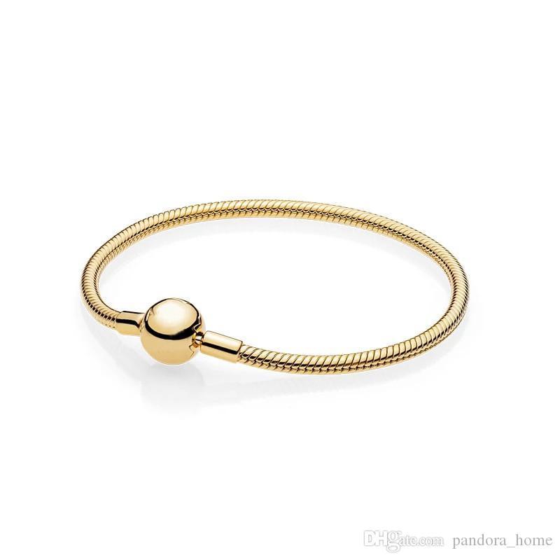 Acheter Mens Or Jaune 18 Carats Plaqué Balle Clips Bracelets Boîte Dorigine  Ensemble Pour Pandora 925 Argent Chaîne De Serpent Bracelet Pour Les ...