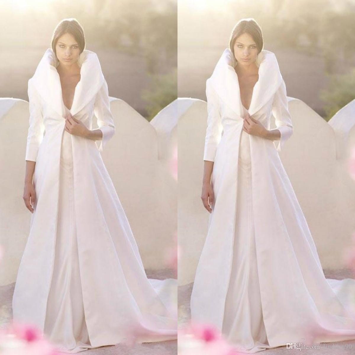2019 Otoño Invierno White White Wrap Wrap Jacket Satin Abrigos de longitud completa Mangas largas Una línea Cuna de fiesta de boda Bridal Hecho a medida