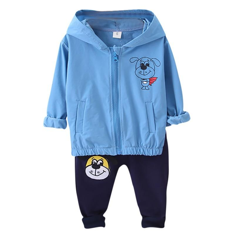 Casual Baby Boys clothes Children Sets 2pcs Long Sleeve Cartoon Print Hoodie Sweatshirt Tops+Pants Trouser Jacket New Set Autumn