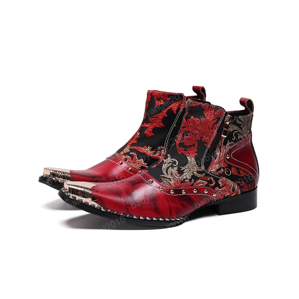Модные Ботинки Мужские Кожаные Короткие Сапоги Острым Металлическим Носком Военные Сапоги Туфли-Botas Молния Большой Размер 38-46