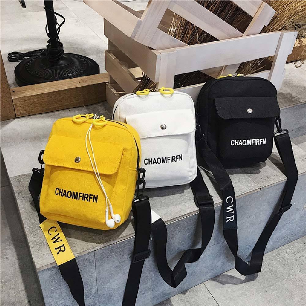 Lona feminino 2019 Primavera nova moda coreana carta saco de viagem pequeno fora T200113 bolsa de ombro