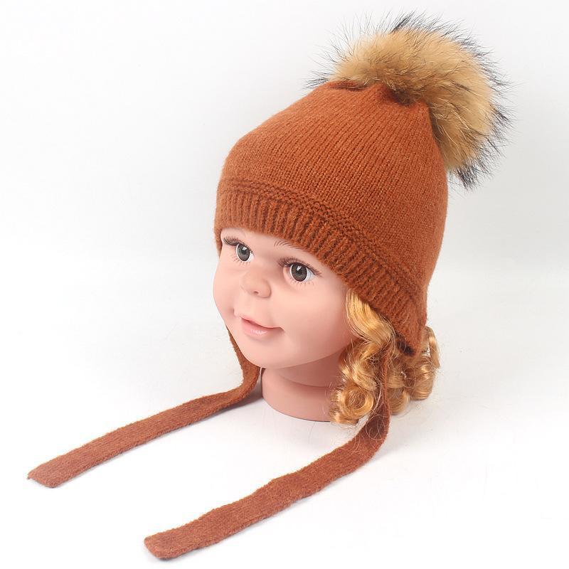 Damen Süße Strickmütze Wollemütze mit Plüschball für Winter Waschbär