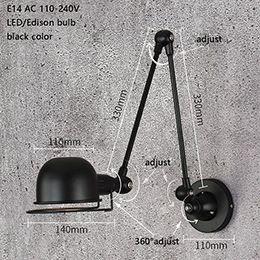 Clássico Nordic loft estilo industrial ajustável Lâmpada de Parede Do Vintage arandela luzes de parede E14 LEVOU luminária para sala de estar quarto