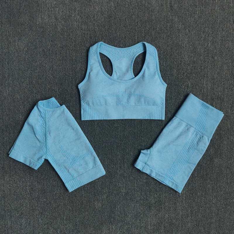 Mulheres Set Yoga Workout Sports Bra Top Curto camiseta manga curta Seamless 3pcs cintura alta ternos de ginásio shorts de ginástica roupa desportiva