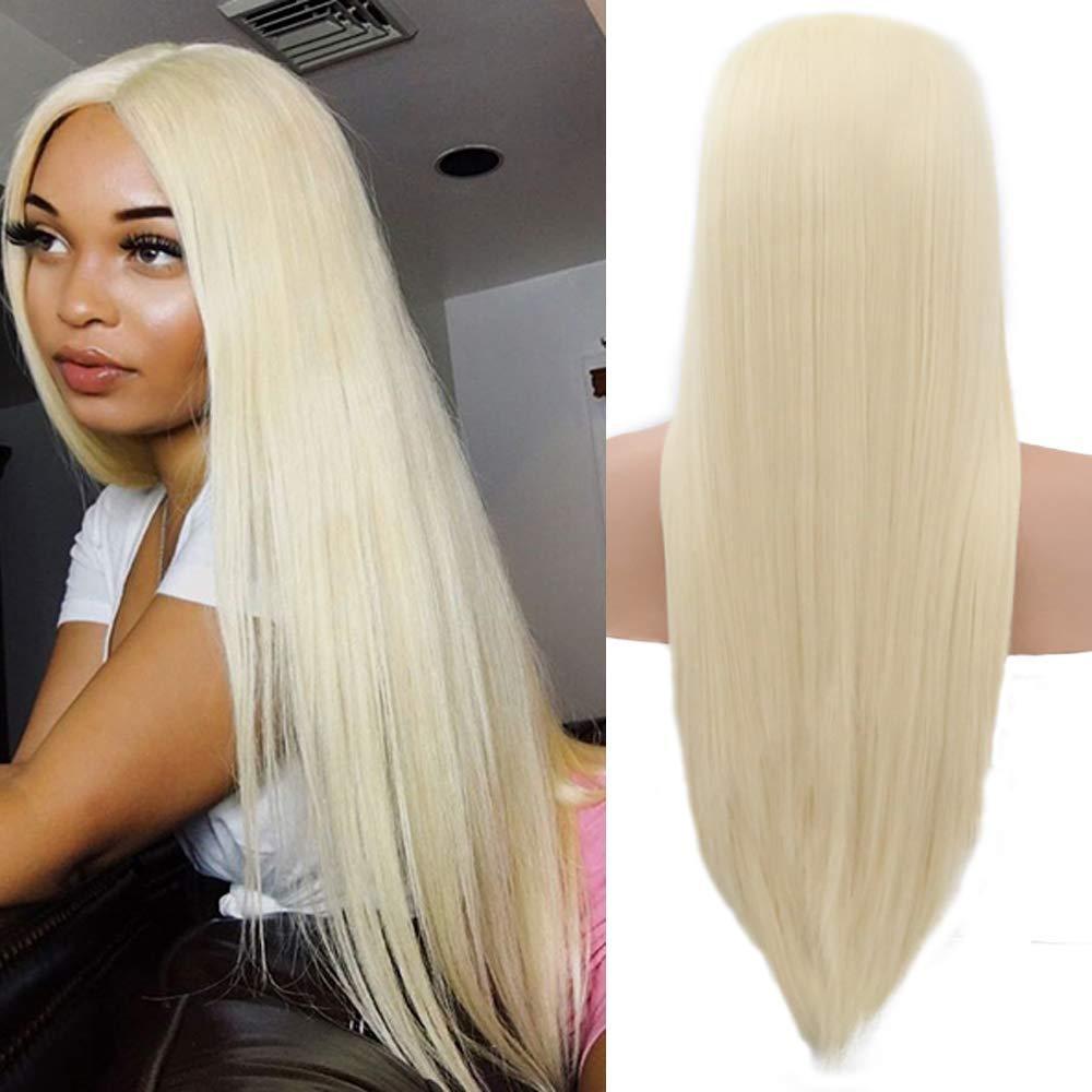 Kadınlar Doğal arıyorsunuz Isıya Dayanıklı Fiber Saç için Uzun Düz Saç # 613 Sarışın Peruk Tutkalsız Sentetik Dantel Açık Peruk