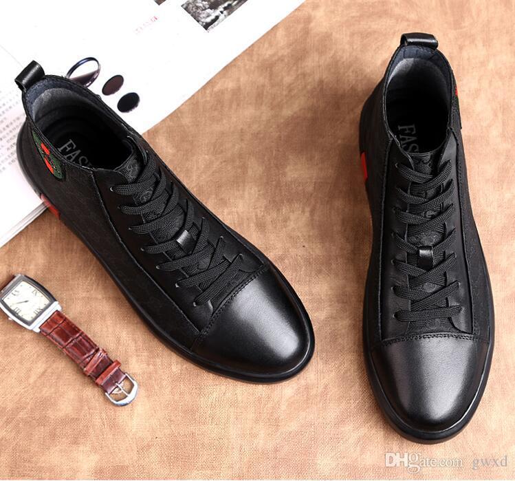 Весна Лето Мода Мужчины Квартиры Обувь Роскошные Черные Случайные Мужские Ботинки Холстины, босоножки, высокие верхние Платья Бизнес обувь W196
