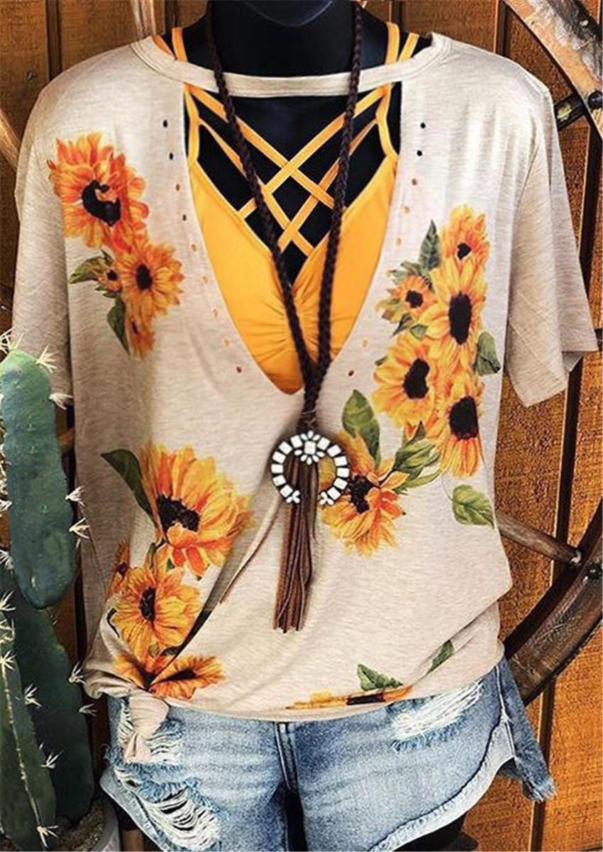 Blumen-Druck-T-Shirt Frauen aushöhlen Top Kurzarm T-Shirt Frauen-reizvolle Spitzen T Weibliche beiläufige lose Tees 2020 New Ropa Mujer
