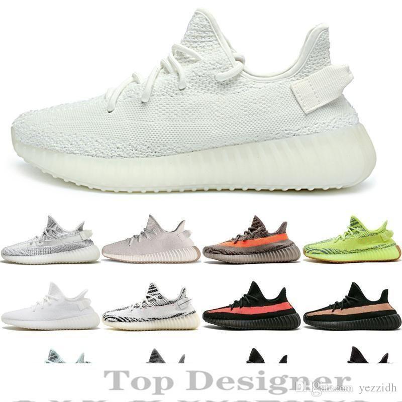 Top Quality Kanye West V2 Marque Designer Hommes Femmes Chaussures de course Zebra Noir Blanc statique réfléchissant Chaussures de sport T1B2