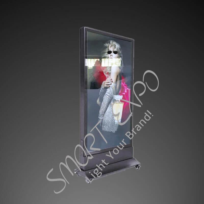 60*180cm Merchandising Picture Frame Led Advertise Floor Stand Light Box with Base Wheels Wooden Case Packing