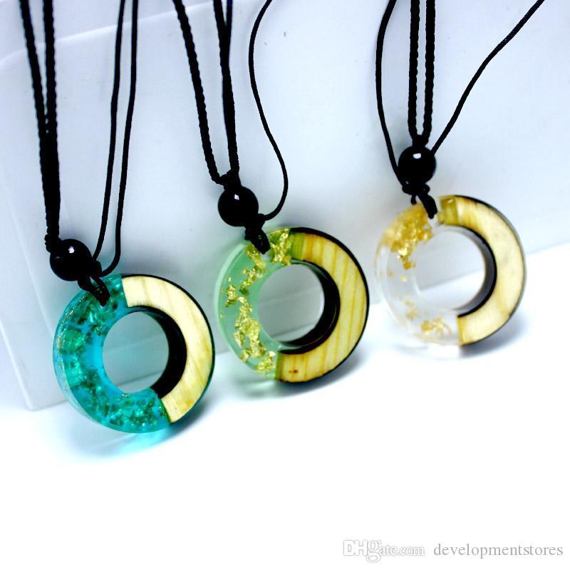 Madeira Sólida colar de pingente / pingente camisola / Ethnic viagens de jóias solidificados Tempo Resina Handbag