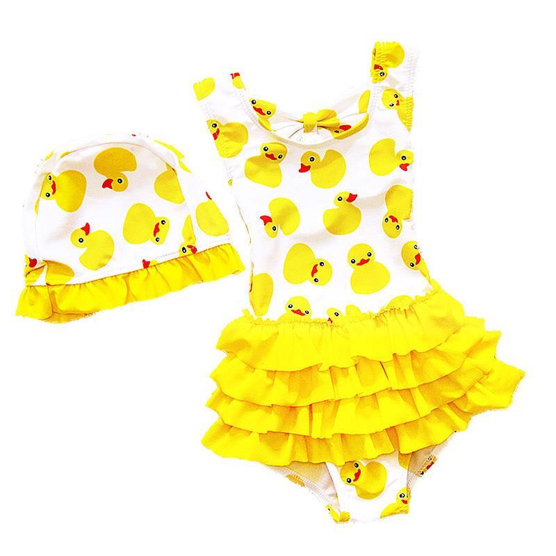 1 ~ 8 세 어린이 수영복 여자 용 러블리 옐로우 오리 수영복 수영복 공주 원피스 수영 수영 모자 Y19052001