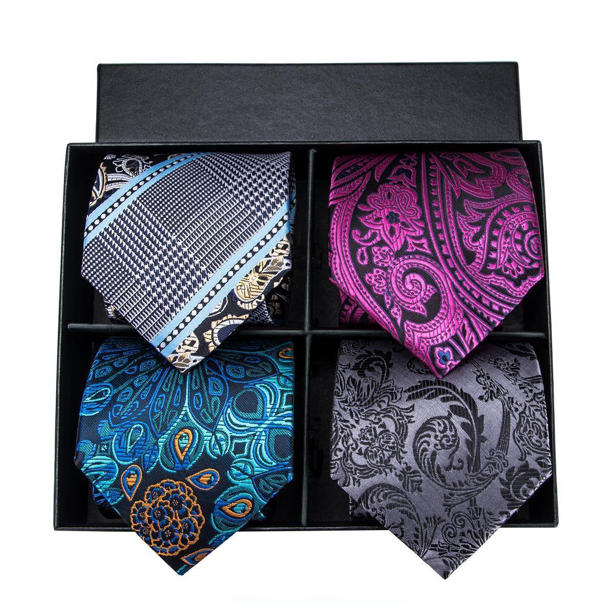 vente en gros 4 couleurs de luxe cravates en soie Mode homme cravate boîte-cadeau Liens pour hommes cravates sans Boutons de manchette Hommes Ties pour le cadeau FD-001