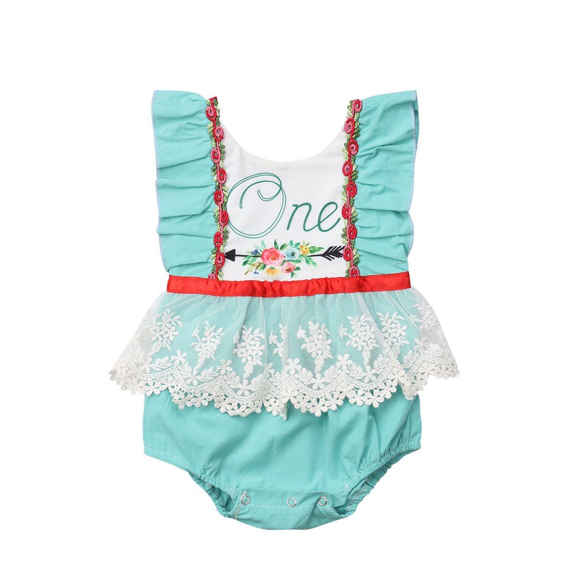 Yenidoğan Bebek Çocuk Kız bebekler Romper Dantel Çiçek Yelek Pamuk Casual Popüler Kolsuz Romper Jumpsuit Kıyafetler Giyim 0-24M Sıcak