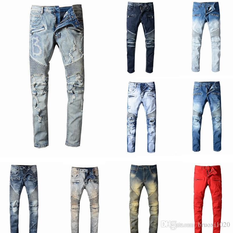 2020 NovoBalmainMens Distressed rasgado Biker Jeans Slim Fit Motociclista Denim For Men Fashion Designer Hip Hop Jeans Mens