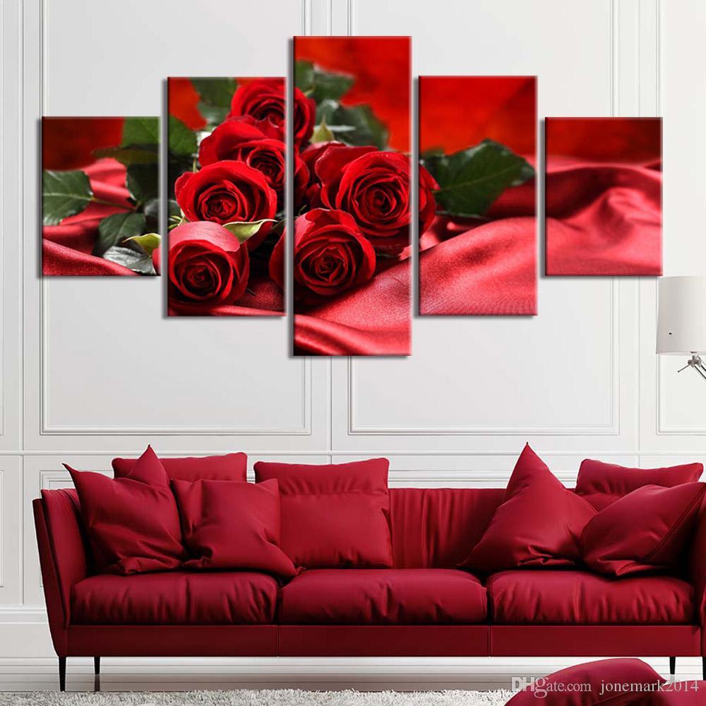 HD Prints 5 Pieces Rose Red flor Imagem Cartaz para casa Decor decoração do hotel pintura da lona Wall Art Framework