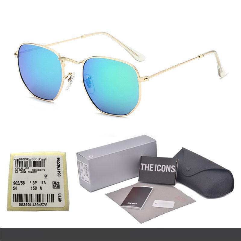 Telaio nuovo Arrial Esagono metallo UV400 lenti di vetro degli occhiali da sole delle donne degli uomini del progettista di marca Occhiali di guida Occhiali con scatola libera ed etichetta