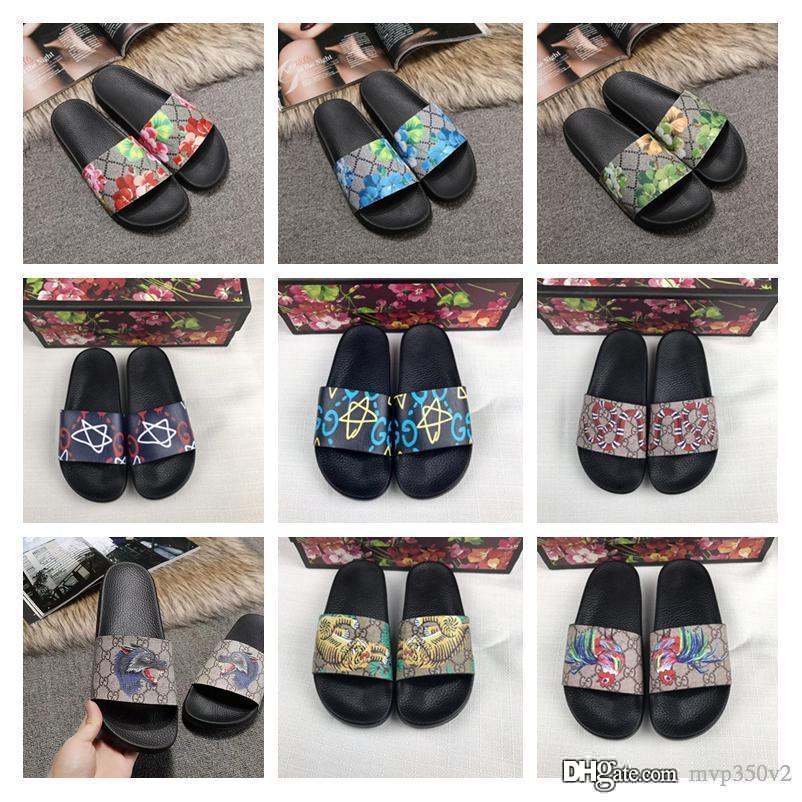 Con scatola 2019 Nuovi sandali firmati di moda di lusso per uomo e donna Pantofole estive Pelle Taglia 35-46 Quattro colori per uomo Pantofole casual