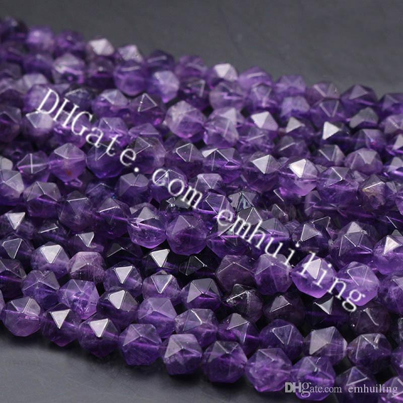 10 Strands Natural Amethyst Purple Quartz Crystal Faceted Nugget Beads Wholesale Genuine Semi Precious Gemstone Star Cut Loose Beads 6-12mm