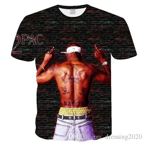 dressing2020 Yeni t gömlek bana Harajuku tarzı t-shirt Kadınlar / Erkekler Tupac 2pac 3d t gömlek karakter baskı Hip Hop Tişörtler Tops boyut Damla Nakliye