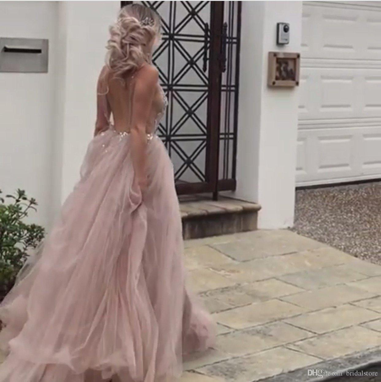 Sexy See Through Prom Dresses With High Slits Top Rhinestone Crystal Long Elegant Evening Formal Dresses 2018 Tulle Special occasion dresses