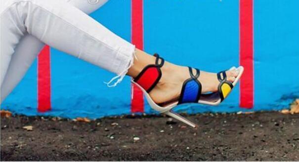 Vente chaude-Talon Sandalias Mujer Melissa Nouvelle Mode Bout Ouvert Talon Haut Gladiateur Sandale Chaussures Femme Multicolore Sandales