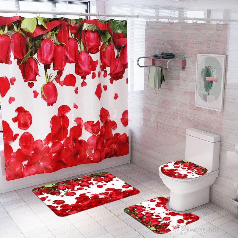 Nueva pétalos de rosa cortina de ducha de baño Alfombras antideslizante Alfombra de la manta pedestal Alfombra tapa del inodoro cubierta Alfombra de baño