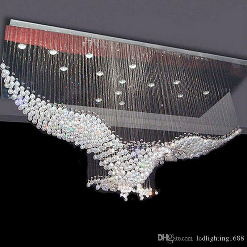 Eagles özelleştirme Tasarım Lüks LED Kristal Avize Aydınlatma Luster Avize Işıklar Cristal Lambası L100 * W55 * H80cm 110v-220v