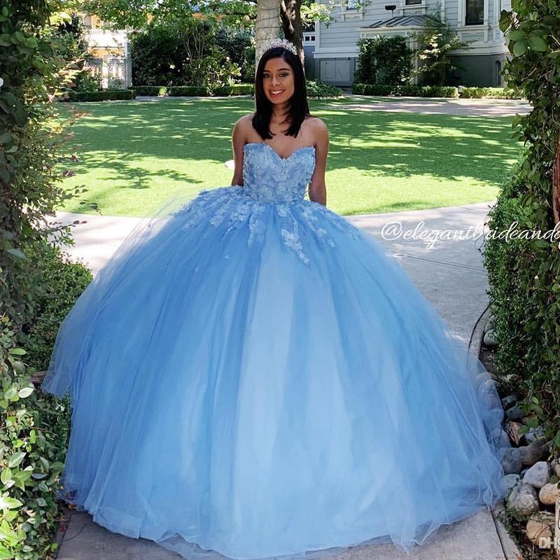 Céu azul do laço Quinceanera doce 16 Vestido Partido Prom Querida 3D Flower Vestidos Custom Made