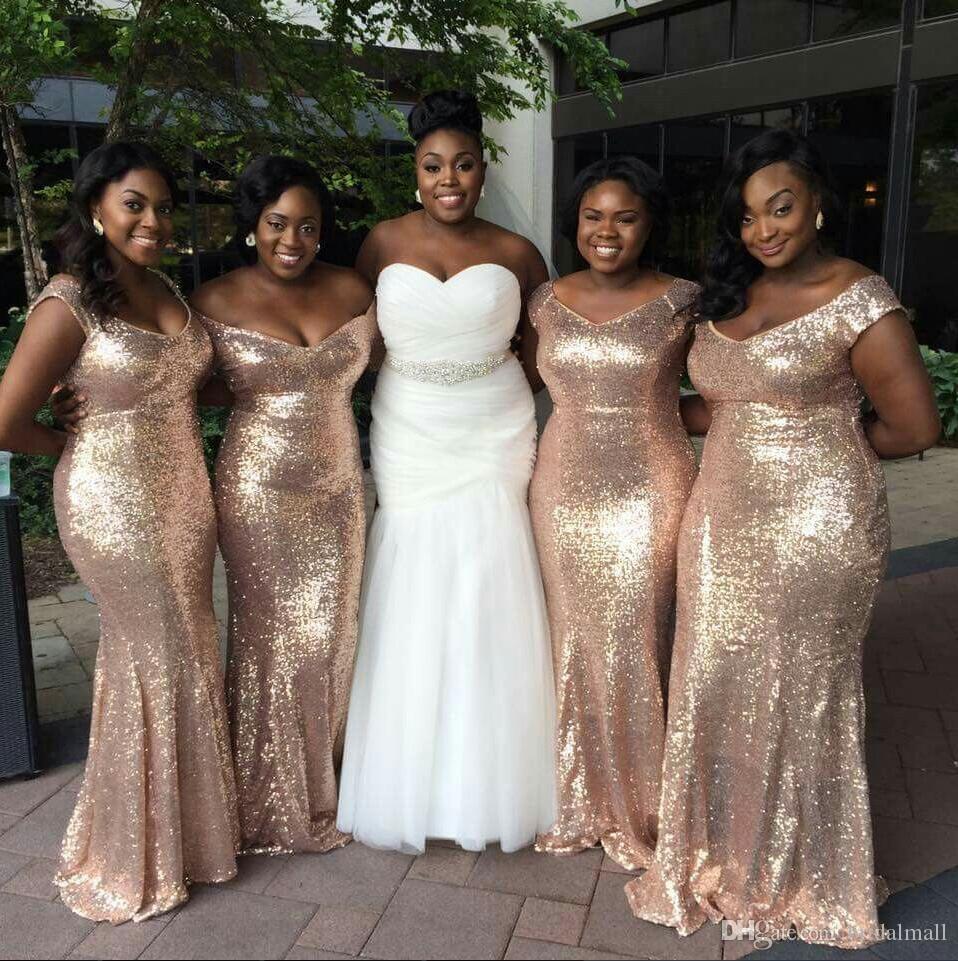 Or Rose africaine Paillettes sirène robes de demoiselle d'honneur taille Off-épaule Backless plus Beach Party robes de mariage Robes de demoiselle d'honneur