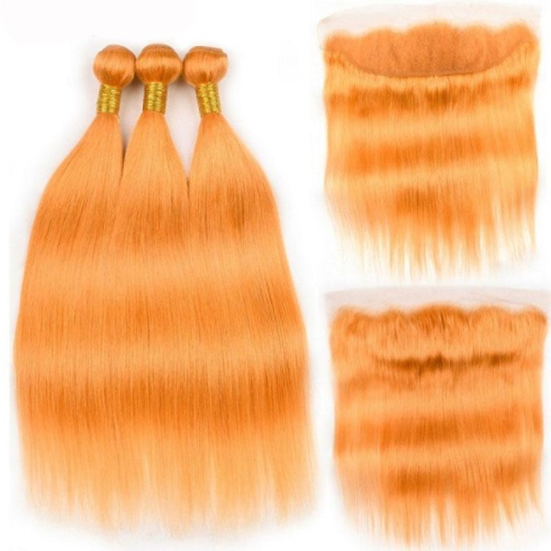 De haute qualité pure orange droite remy humains Tissages Cheveux 3 tissage Bundles avec 13x4 Lace Frontal Livraison gratuite