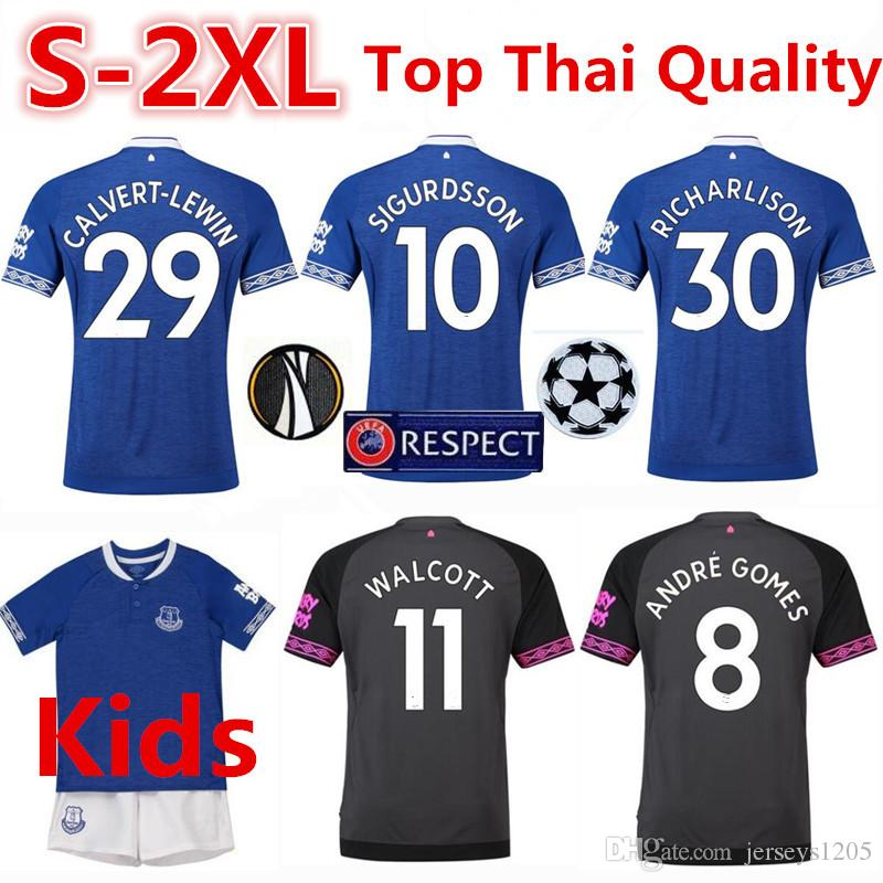 superior quality 34a33 95603 2019 Everton FC Soccer Jersey T Shirt 18/19 RICHARLISON Home Football Shirt  SIGURDSSON Tshirt DIGNE Adult Shirts Kids Kits Camiseta Maillot S 2XL From  ...
