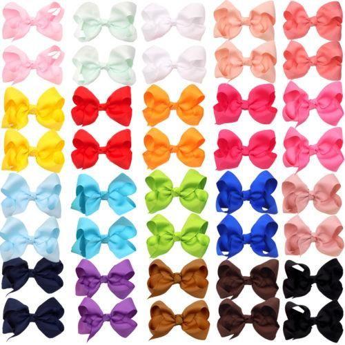 Hot Sale 3 Inch Boutique Hair Bow Girls Grosgrain Ribbon Hair Bow with Clips Hairpin Kids Hair Accessories 60pcs/