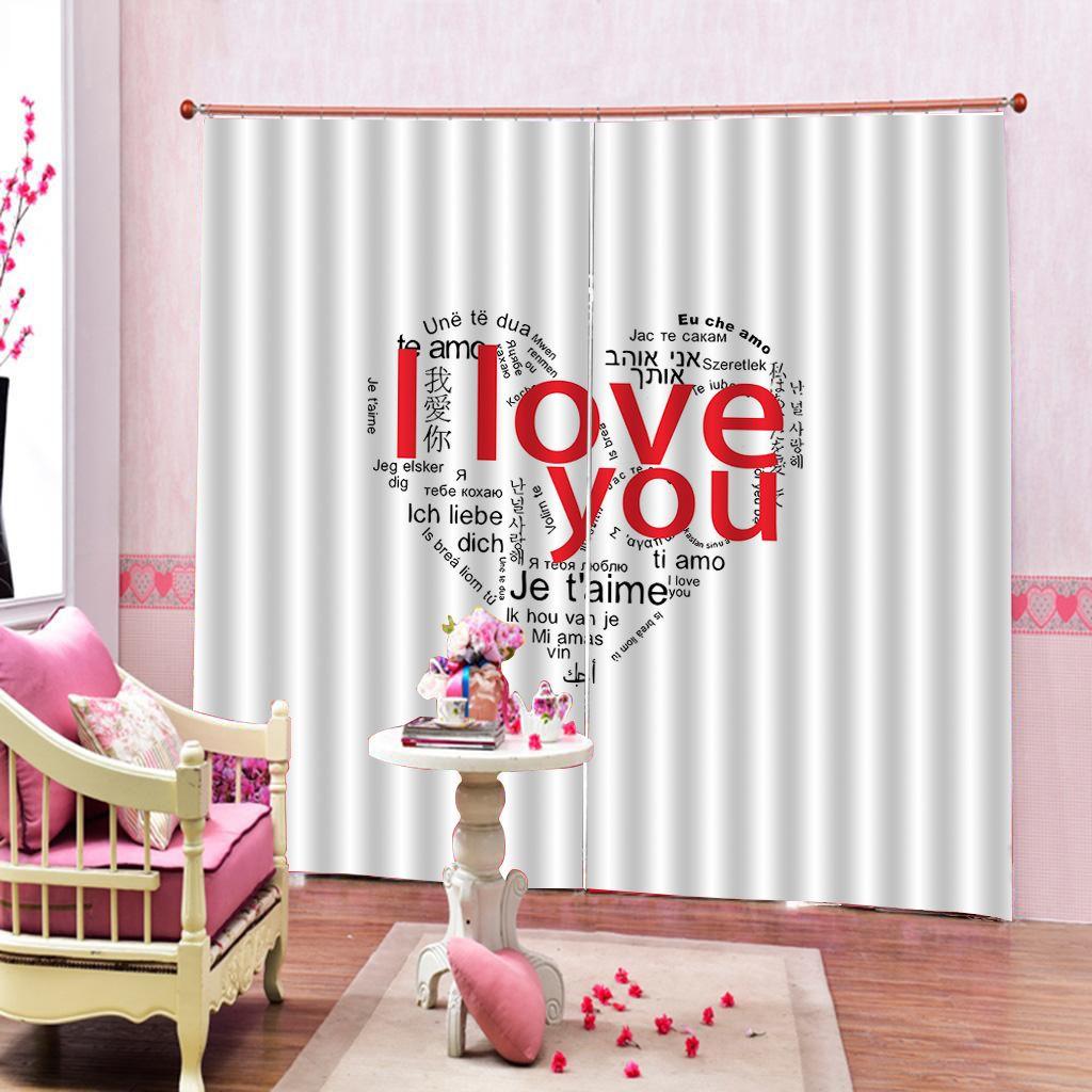 Lettere d'amore cuore (I Love You) Curtain Per camera ragazza sposa Finestra tende 3D digitale stampare casa tende Decor Imposta 2 pannelli con ganci