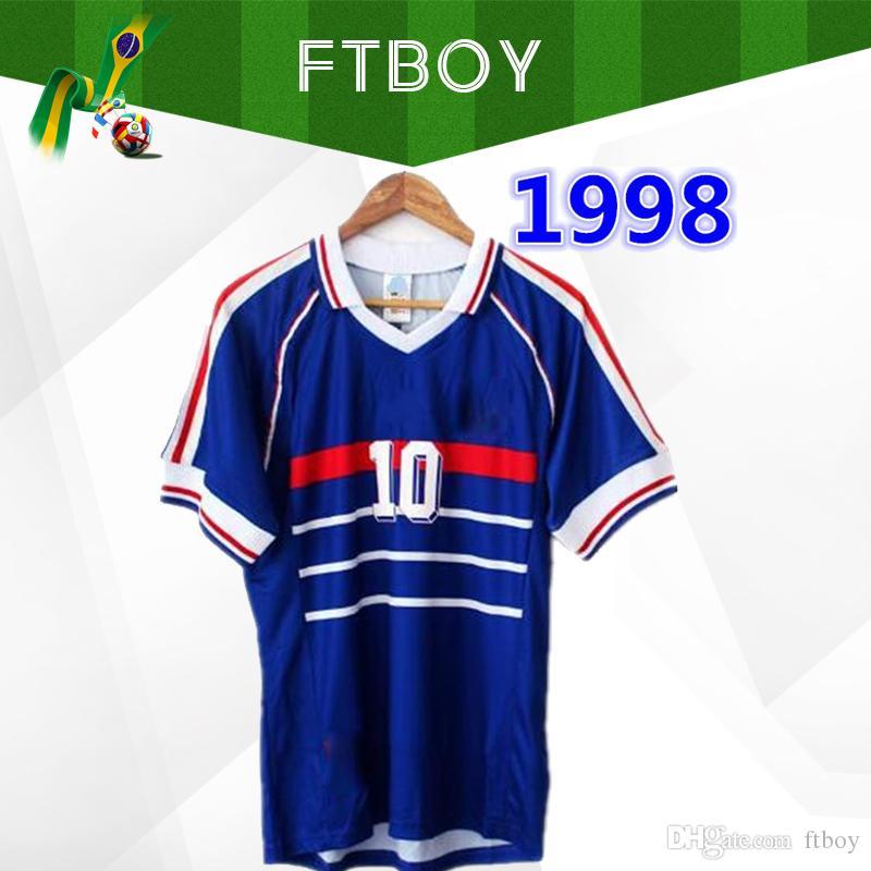 1998 بطولة كأس العالم الفرنسية ريترو فينتاج زيدان هنري ميللوت دي فوت تايلاند جيرسيس لكرة القدم زي قميص كرة القدم Jerseys
