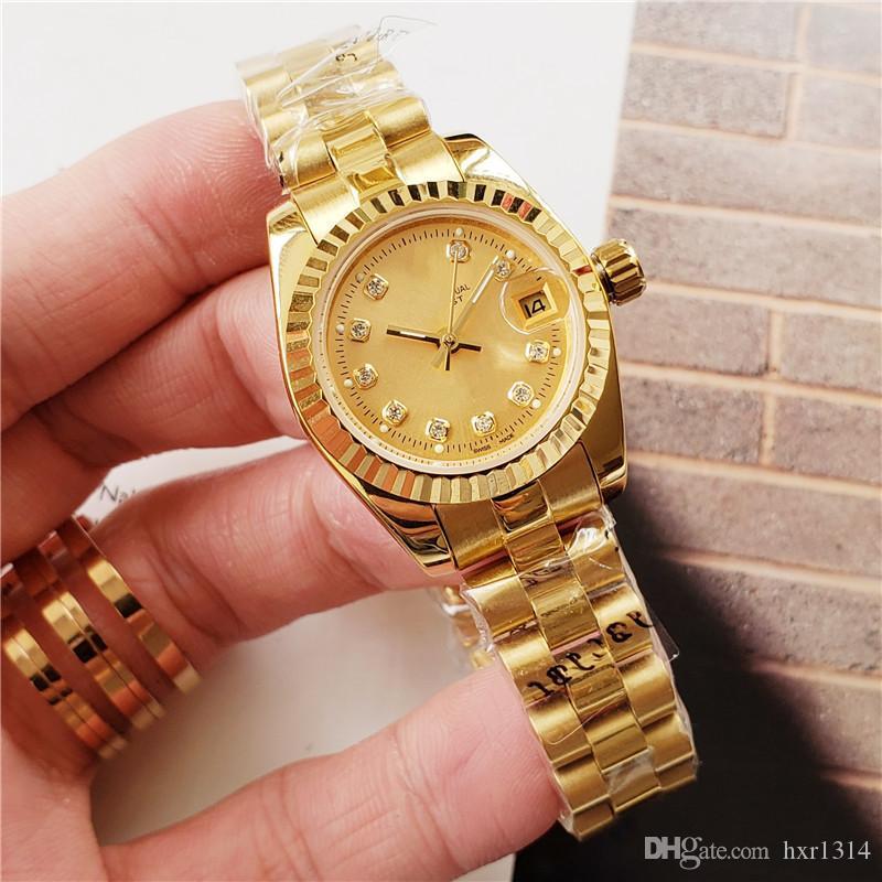 Золото высокое качество 28 мм 31 мм 36 мм горный хрусталь из нержавеющей стали женские часы автоматические механические роскошные платья женские часы мода женщины