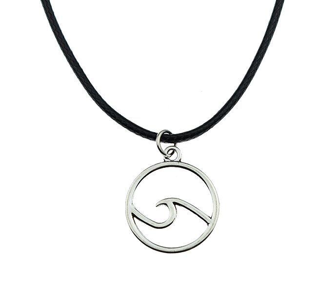 Мода тибетский серебряный кулон ожерелье волна Choker Шарм черный кожаный шнур Цена завода Ювелирные изделия ручной работы