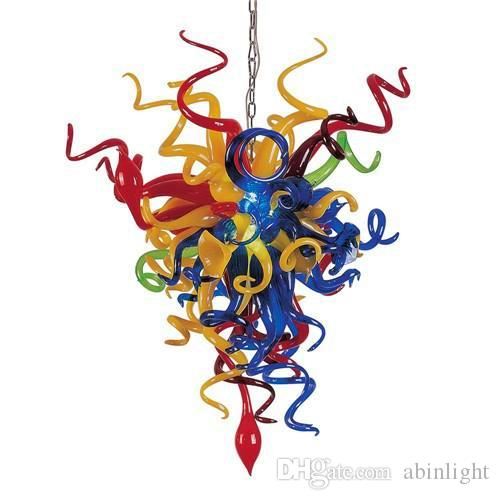 Small and Colorful Murano Glass Art Chandelier for Livingroom Decor Modern Crysatal Ceiling Glass Pendan Lamps with LED Bulb,LR1128