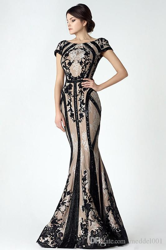 Vintage Black Champagne Mermaid Mother Of The Bride Dresses Sleeve 2019 Sheer Back Lace Appliques Arabic Evening Party Gowns