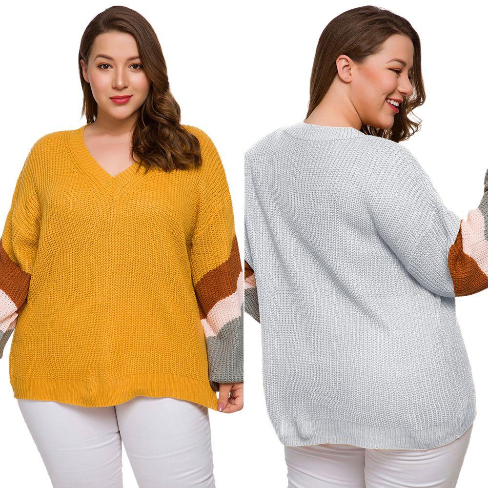 Kadınlar Renk Bloğu Çizgili Kravat Yukarı ve Üniforma Hırka Uzun kollu Kol Baş V Yaka Renk Yağ Mm Sonbahar ve Kış Büyük Boy Triko
