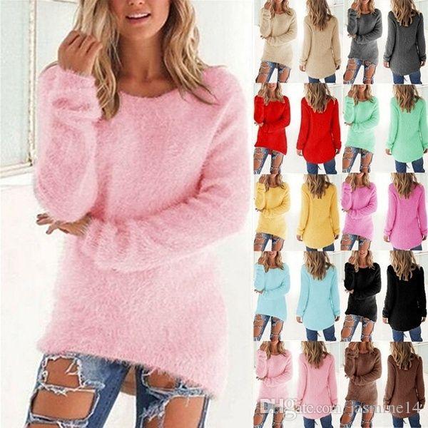 2019 neue Herbst-und Winter-Frauen Art und Weise plus Größe Langarm-Strickpullis Solid Color Pullover Tops