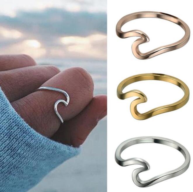 도매 새로운 비치 바다 파도 반지 여성 패션 보석 A0132 여성 미니멀 한국형 골드 실버 로즈 골드 약혼 반지
