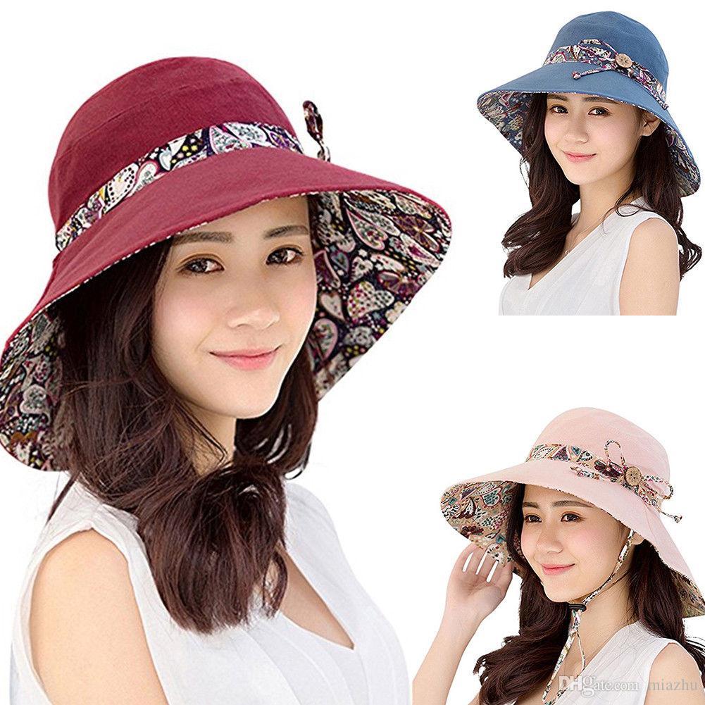 Kadınlar Yaz Plaj Ilmek Geniş Ağız Güneş Şapka Geri Dönüşümlü Katlanabilir Kap Bayanlar Yaz Sunhat multi-fonksiyonel Moda Şapka