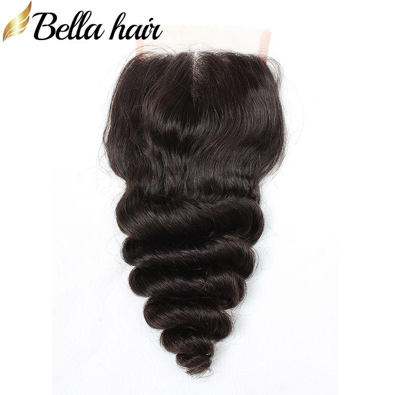 Loose Fale HD Lace Zamki 100% Brazylijskie Peruwiańskie Indian Malezyjski Human Dziewiczy Włosy Zamknięcie 3 Część 4x4 Kolor Naturalny 8-26 cal Bella Hair