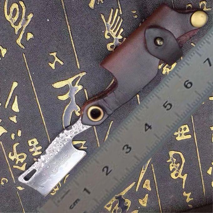Top qualité VG10 Damas Lame en acier pliant RazorKnife poignée en cuir EDC de poche Couteaux Couteau cadeau en cuir gaine