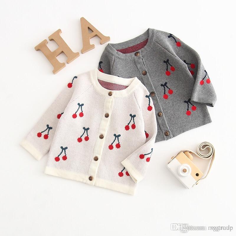 Outono Da Criança Do Bebê Meninas Cereja Impressão Camisolas Cardigan de Manga Longa Frente Botões Gola Redonda Cores Doces Recém-nascidos Blusas Camisas 0-2 T