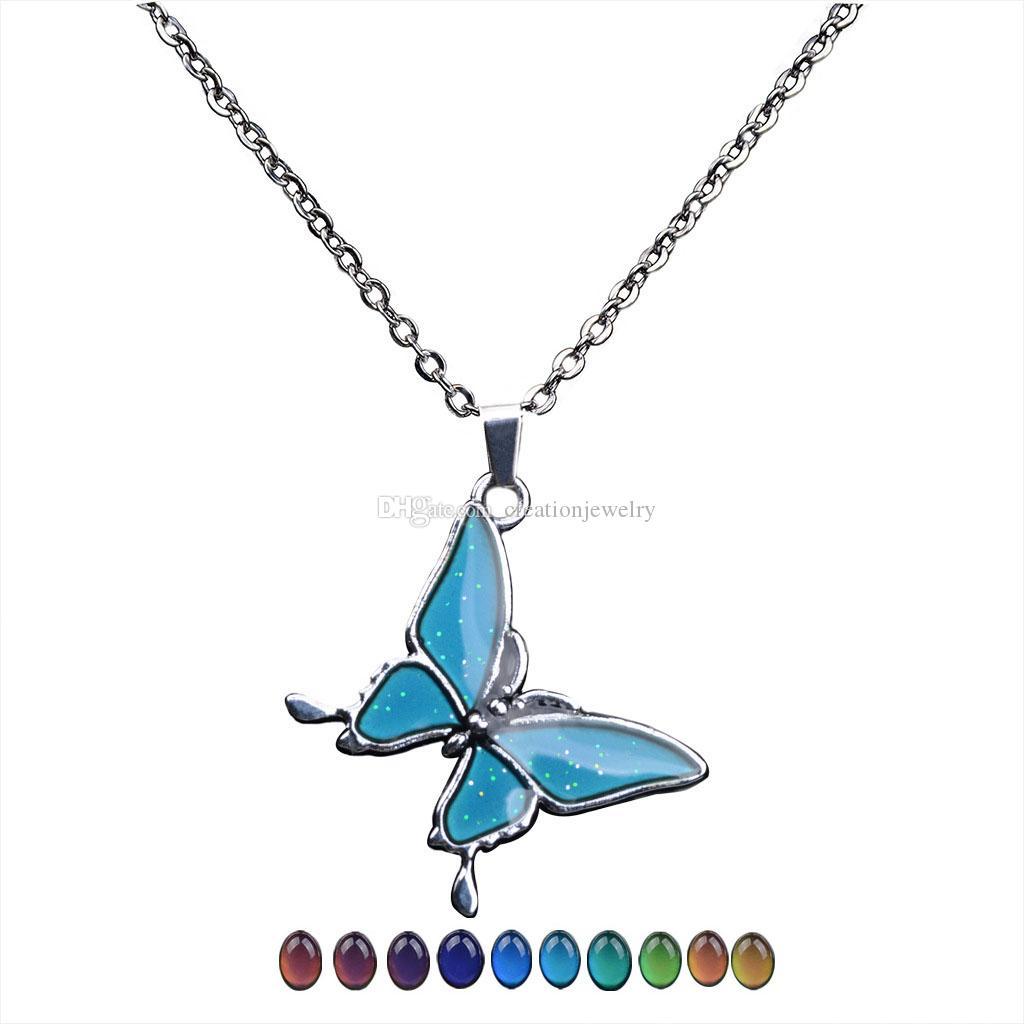 Güzel kelebek değişen renk kolye paslanmaz çelik termokromik sevgilisi sevgililer Günü kolye hediyeler toptan ile zincir